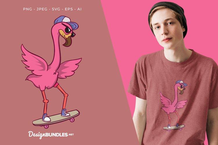 Skateboarder Flamingo Vector Illustration For T-Shirt Design