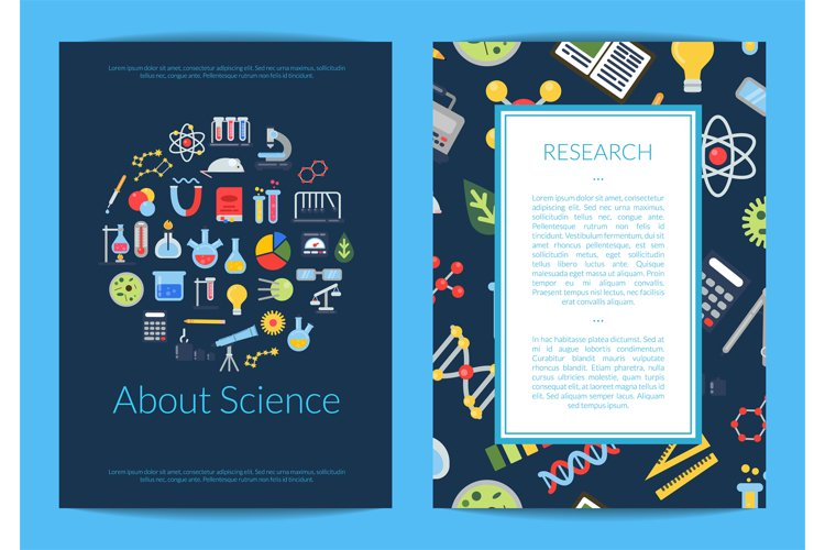 Vector card or flyer template with flat style science icons example image 1