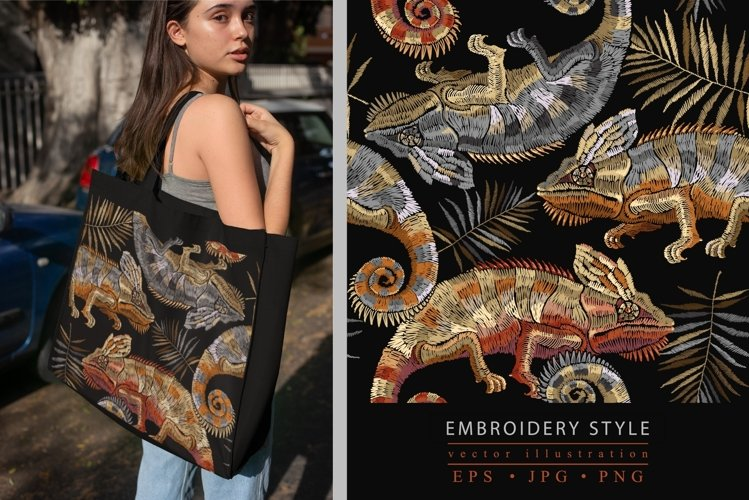 Embroidery style color chameleons pattern example image 1