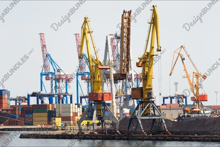 Industrial cranes and cargo on a quay example image 1