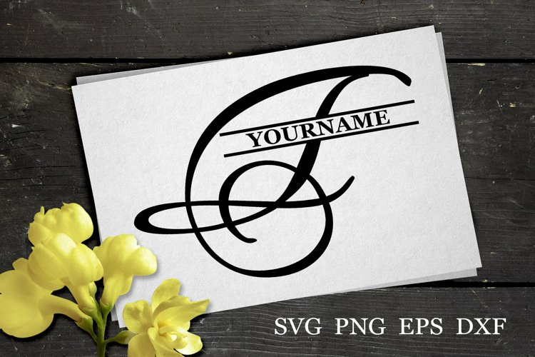 F Split monogram SVG Split letter svg Monogram font example image 1