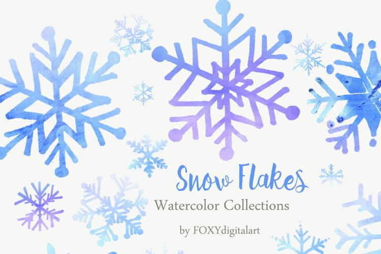 Christmas Snow Flakes Watercolor Clipart example image 1