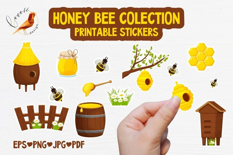 HONEY BEE Colection Printable stickers PDF PNG