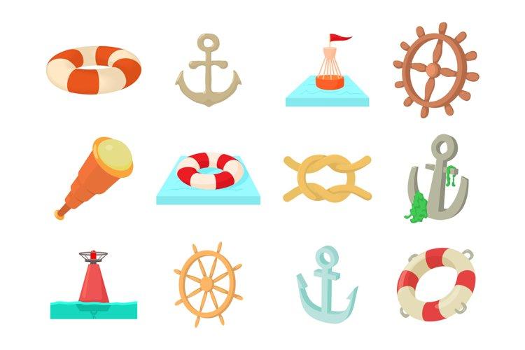 Sea object icon set, cartoon style example image 1