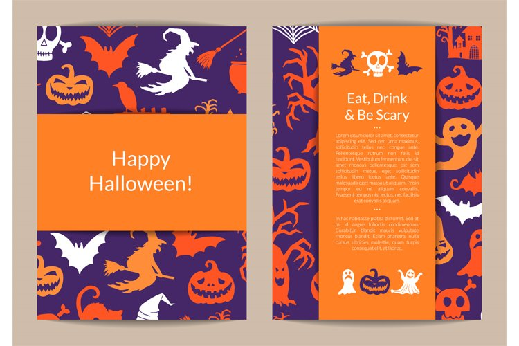 Vector halloween card templates with witches, pumpkins, ghos example image 1