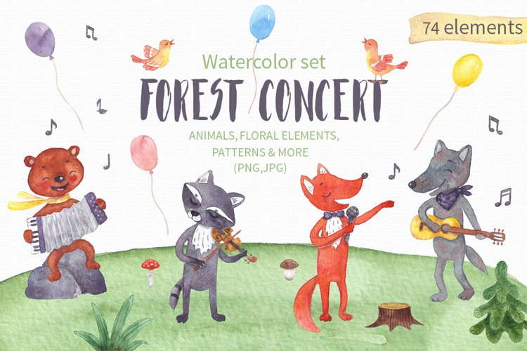 Forest Concert Watercolor Set example image 1