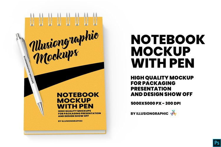 Notebook mockup with pen example image 1