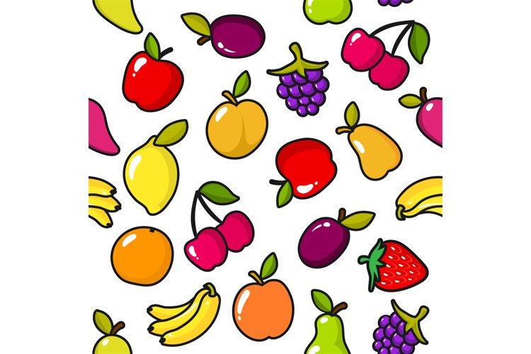 Seamless pattern of fruits with black outline example image 1