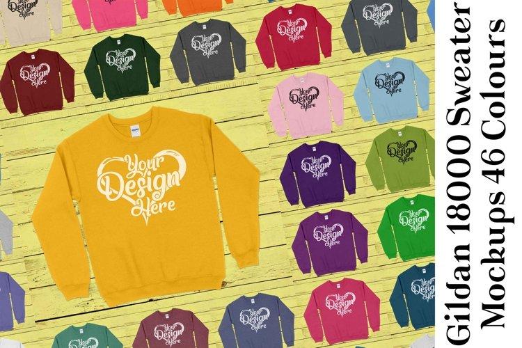 Gildan Sweatshirt Mockup 18000 Mock Up Black White Grey 943 example image 1