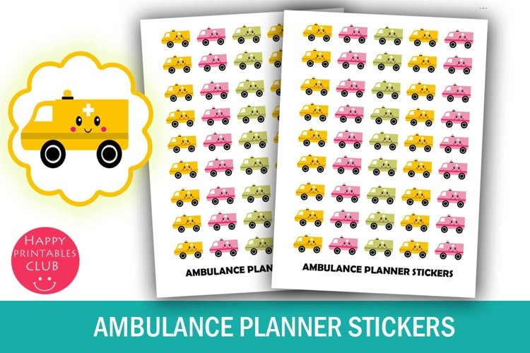 Kawaii Ambulance Planner Stickers- Paramedic Planner Sticker example image 1