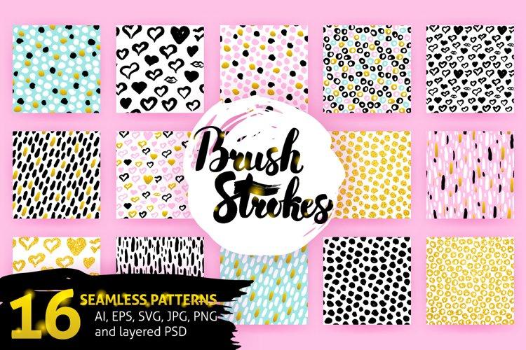 Brush Strokes Trendy Seamless Patterns