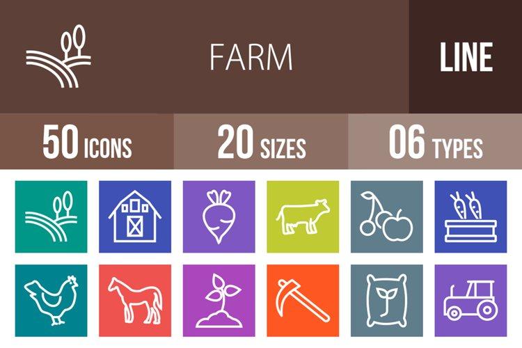50 Farm Line Multicolor B/G Icons example image 1