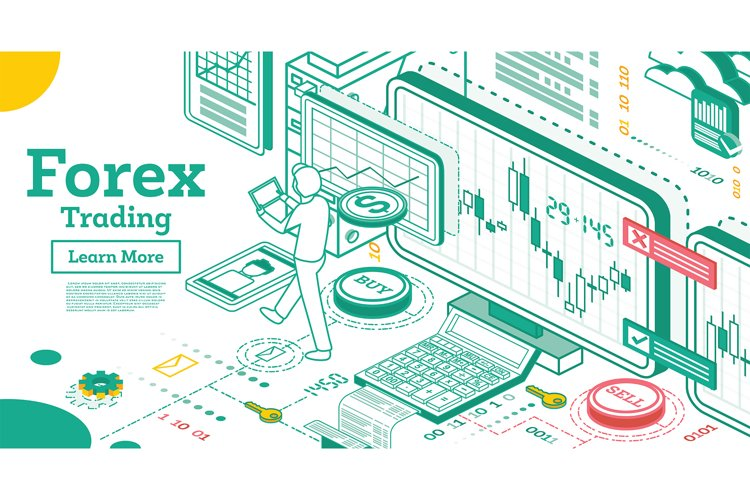 Forex Trading. Outline Isometric Concept. example image 1