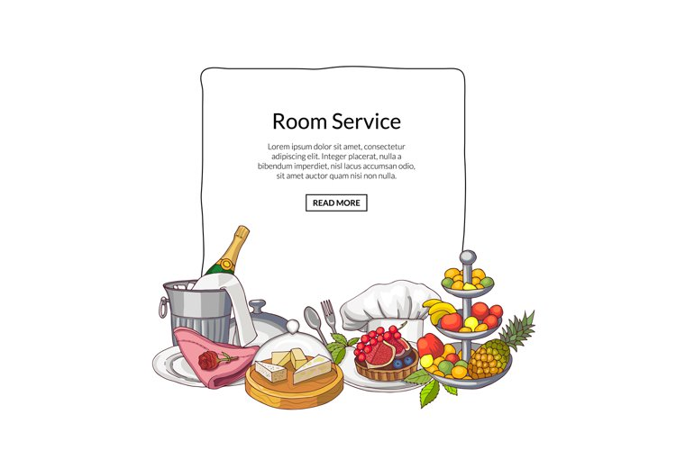 Vector hand drawn restaurant or room service elements gather example image 1