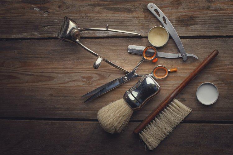 Barber shop wooden backgrounds JPG set example 2
