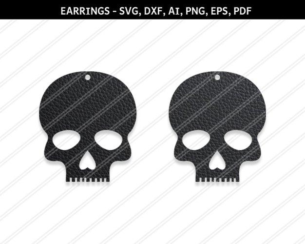 Skull earrings svg,Skull svg,Jewelry svg,Cricut silhouette example image 1