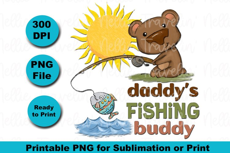 Daddy Fishing Pole Sunshine Fish Lake River for Sublimation