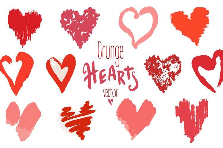 Vector grunge hearts+pattern