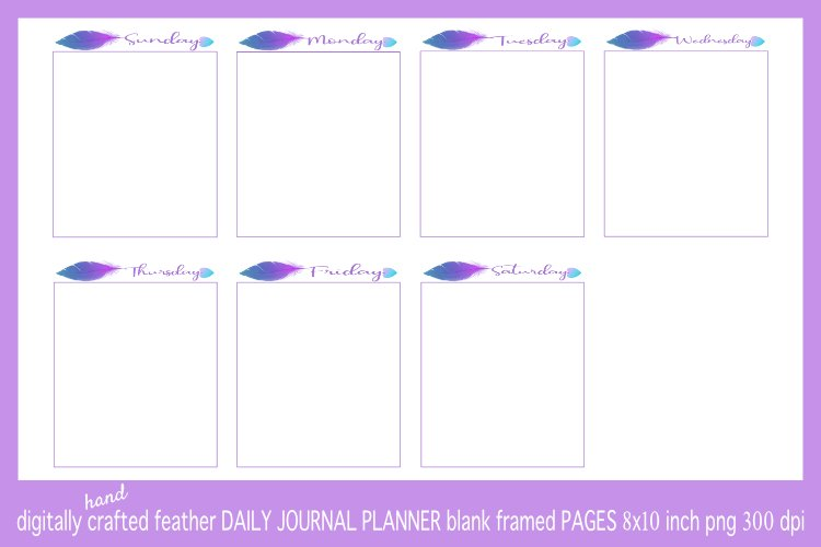 Abstract Blue & Purple Feather Daily Journal Planner Framed example image 1