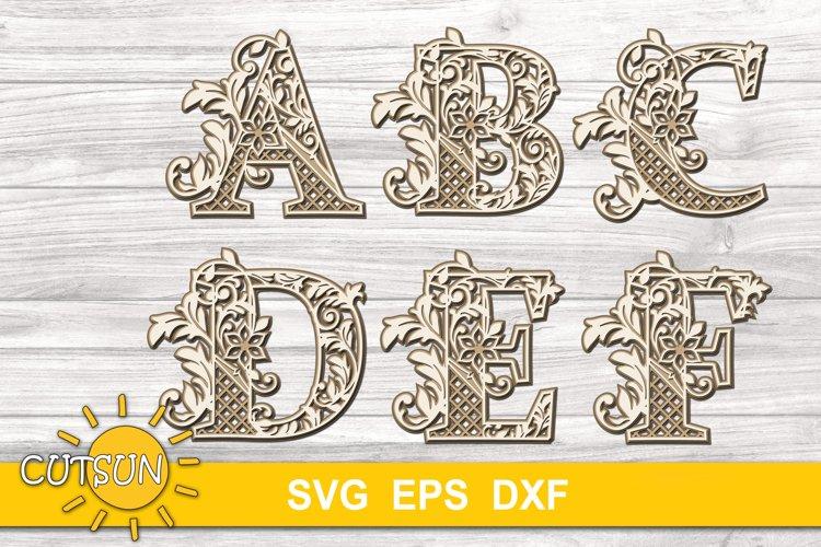 3D Alphabet Layered Mandala SVG Bundle 26 letters example image 1