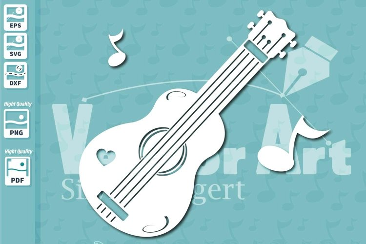 Ukulele Music Instrument - Cut File for Crafters