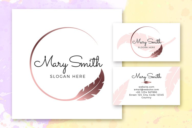 Feather Logo Illustrations & Business Card example image 1