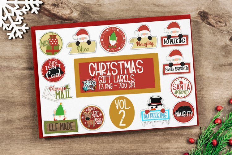 Christmas Gift Tag Sticker Bundle Vol 2 - Sticker PNG