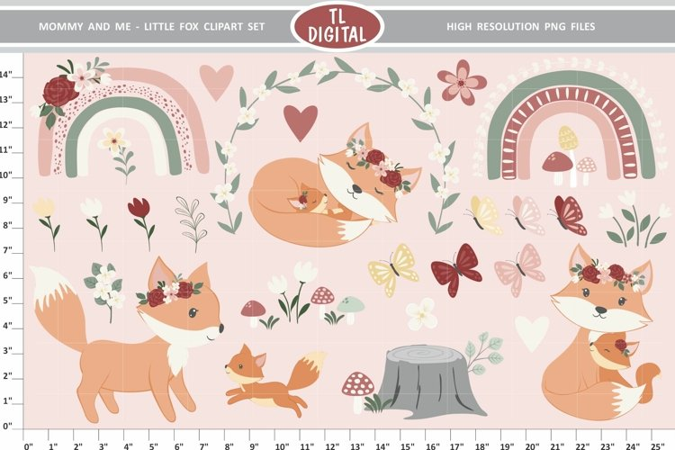 Mommy and Me Fox Clipart - Flowers and Rainbows - 27 PNG