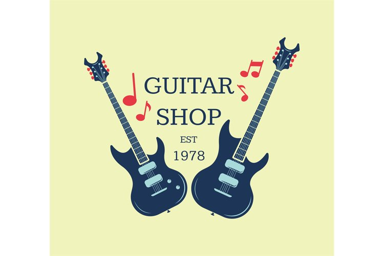 Vector guitar shop logo, emblem with musical notes example image 1