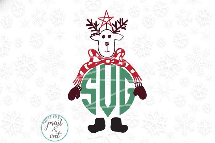 Vintage Old style deer Reindeer head monogram svg dxf cut example image 1