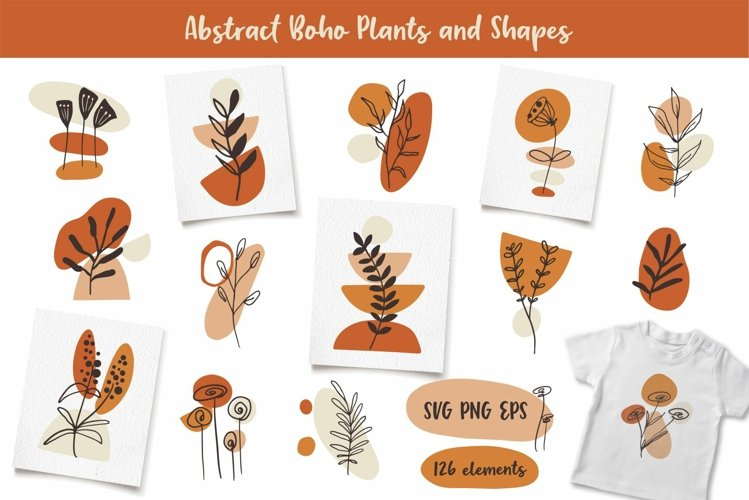 Boho Clipart with Plants and Abstract Shapes, Florals example image 1