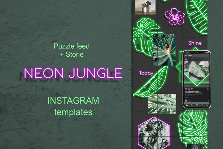 Neon Jungle Puzzle Instagram Template. Stories and Posts example image 1