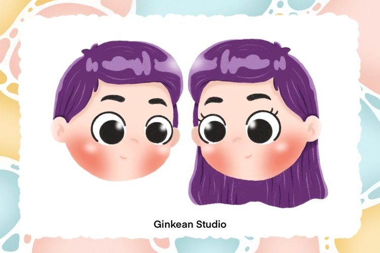 Boy and girl with violet hair clipart, wall art, mug design