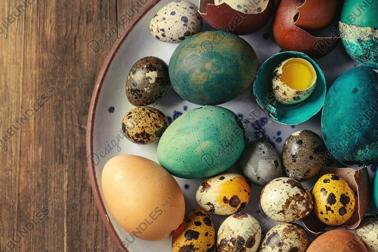 Colored chicken and quail eggs example image 1