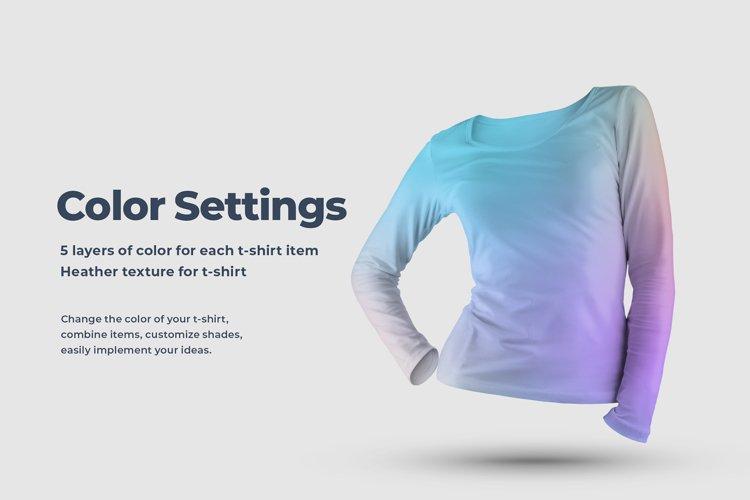 Long Sleeve 3D T-Shirt Mockup example 1