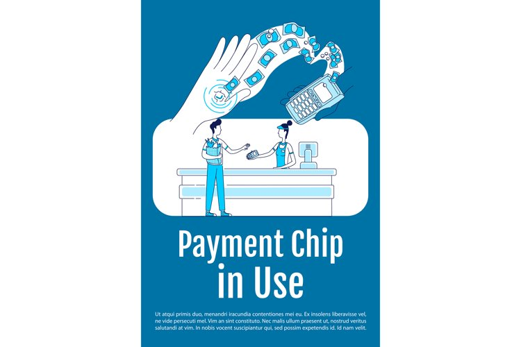 Payment chip in use poster flat silhouette vector template example image 1