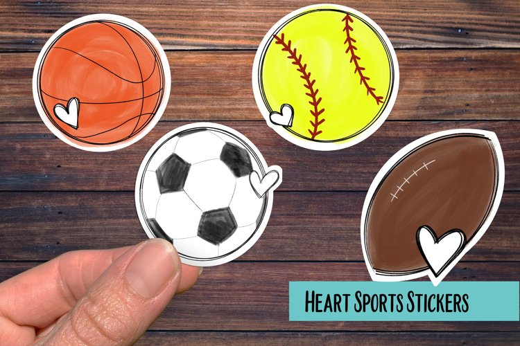 Sports Balls with Heart PNG Sticker Pack example image 1
