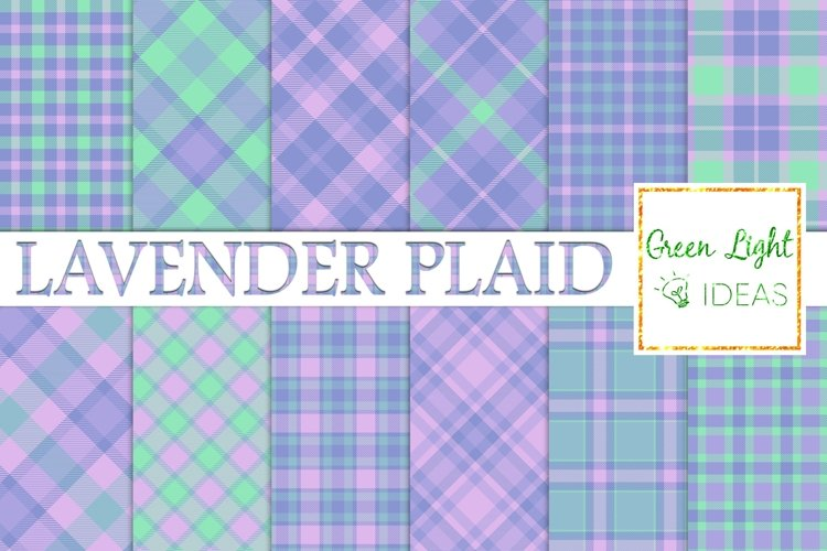 Lavender Plaid Digital Papers, Tartan Textures Backgrounds example image 1