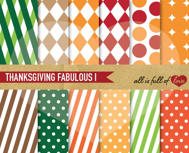 Thanksgiving Background Patterns Harvest day Digital Paper Pack example image 1