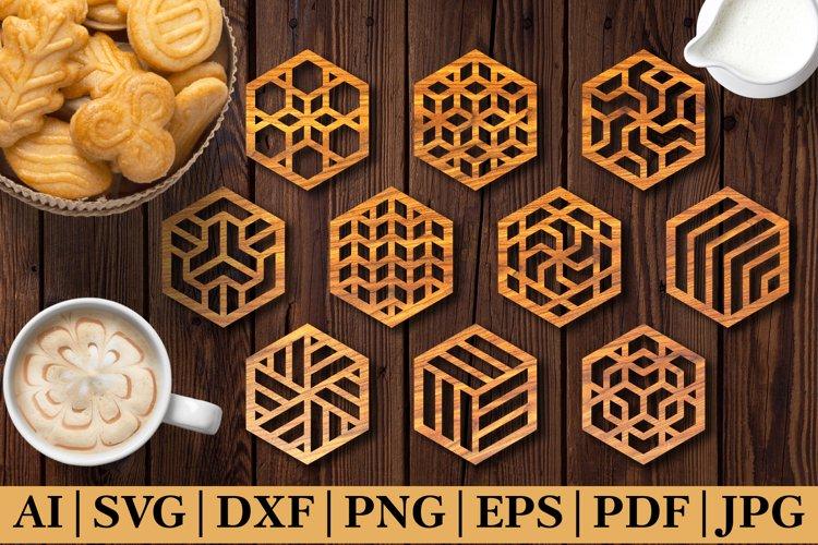 Decorative Drink Hexagonal Coasters SVG. Laser Cut Template