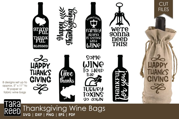 Thanksgiving Wine Bags - SVG and Cut Files for Crafters