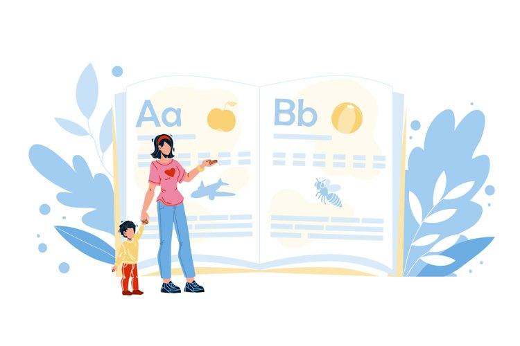 Remote Home Education Mother With Child Vector example image 1