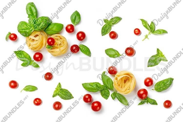 Tomatoes, pasta, basil leaves on a white isolated background example image 1