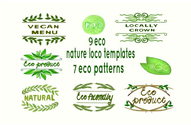 Eco Nature patterns and Logo Templates. Sublimation clipart. example image 1