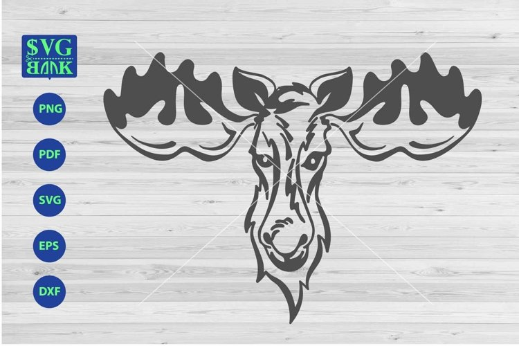 Moose svg file, Moose's head cut file, dxf, png, eps example image 1