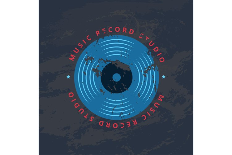 Retro sound record studio, vinyl music shop, club vector log example image 1