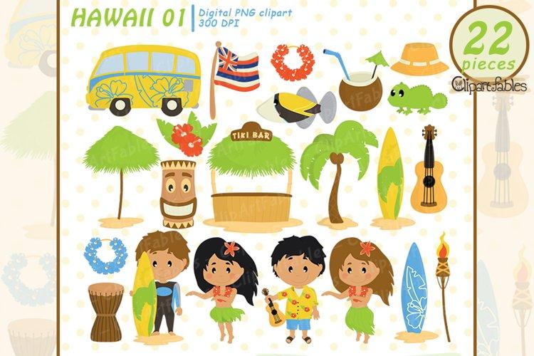 Cute HAWAII clipart, LUAU art, Travel, Tiki clipart, INSTANT