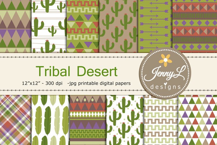 Desert Tribal Cactus Digital Papers example image 1