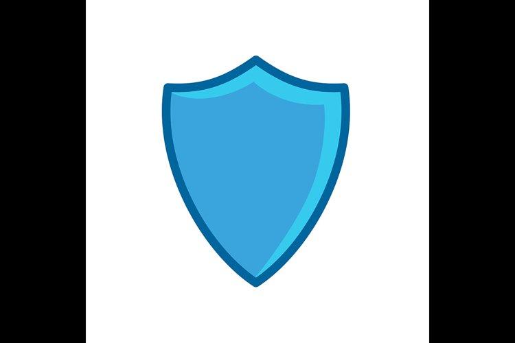 Shield symbol blue Icon vector illustration example image 1