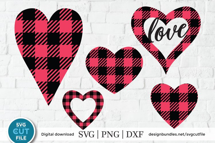 Buffalo plaid heart svg - a Valentines Day svg for crafters example image 1